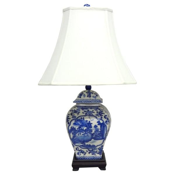 Floral Willow Square Temple Jar Blue Porcelain Lamp - 9' x 12'
