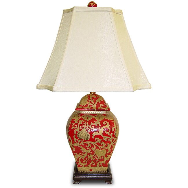 Square Red/ Gold Scrolls Temple Jar Porcelain Lamp