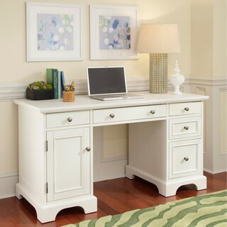 naples white finish pedestal desk by home styles