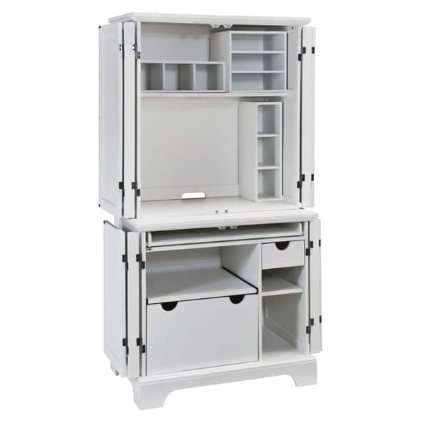 Naples White Compact Computer Desk/ Hutch by Home Styles