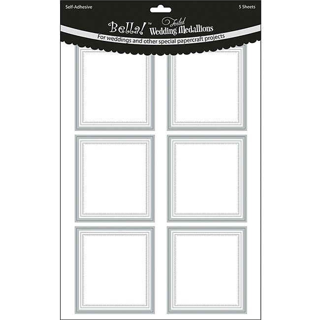 Bella Silver Foiled Rectangle Wedding Medallion Stickers