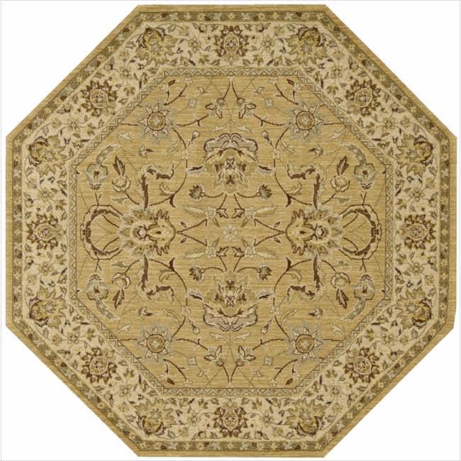 Nourison Parthia Gold Floral Wool Rug (5'6 x 5'6)
