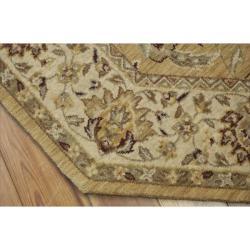 Nourison Parthia Gold Floral Wool Rug (5'6 x 5'6) - Thumbnail 1