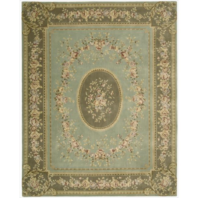"""Nourison Traditional Hand-Tufted Chateau Provence Green Rug (7'9"""" x 9'9"""")"""