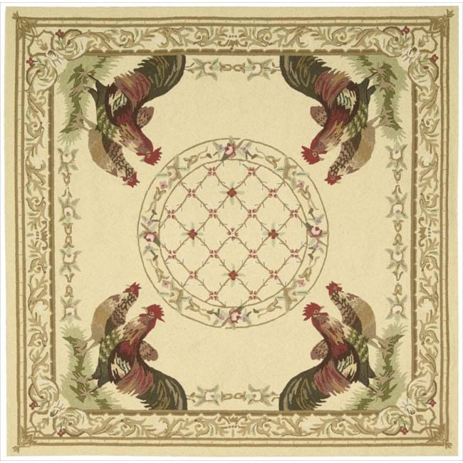 Nourison Hand-hooked Bijoux Ivory Wool Rug (6' Square)