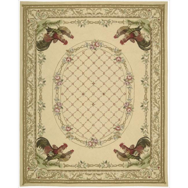 Nourison Hand-hooked Bijoux Ivory Wool Rug (7'9 x 9'9)