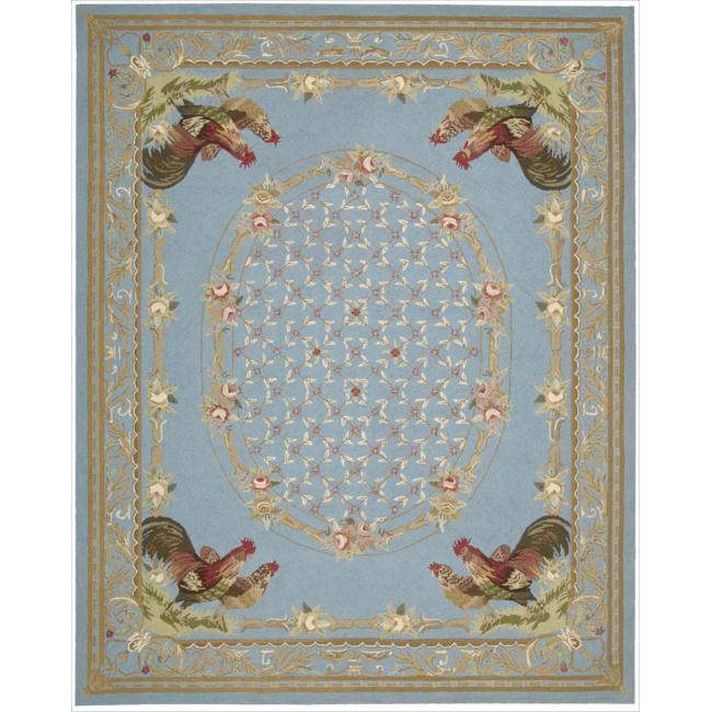 Shop Nourison Hand Hooked Bijoux Blue Wool Rug 7 9 X 9 9