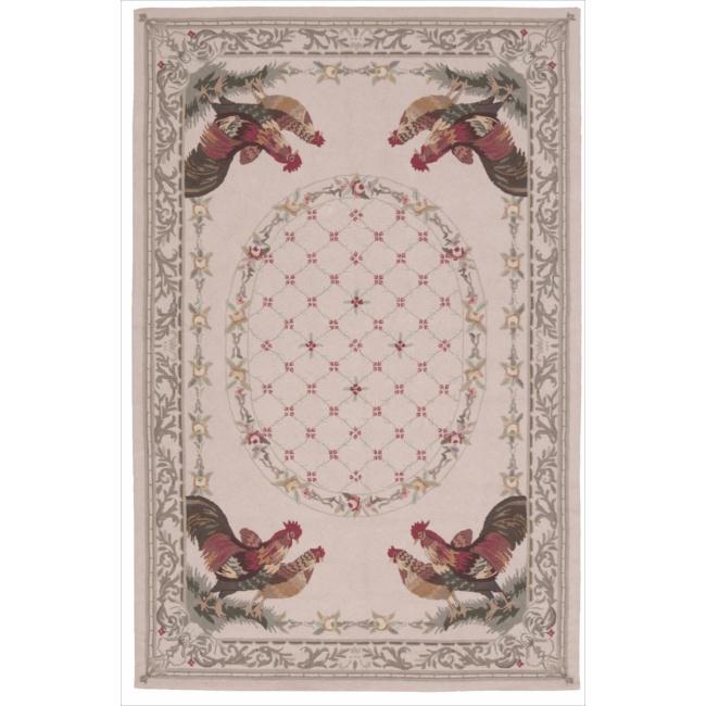 Nourison Hand-hooked Bijoux Beige Wool Rug (8'6 x 11'6) - 8'6 x 11'6