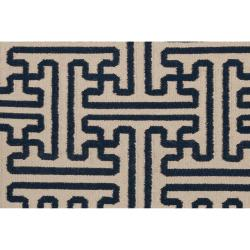 Hand-woven Navy Aketo Wool Rug (5' x 8')