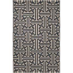 Hand-woven Navy Aketo Wool Area Rug (5' x 8') - Thumbnail 0