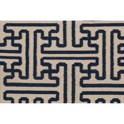 Hand-woven Navy Aketo Wool Rug (8' x 11') - Thumbnail 2