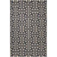 Hand-woven Navy Aketo Wool Area Rug (8' x 11')