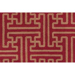 Hand-woven Red Alba Wool Rug (8' x 11')