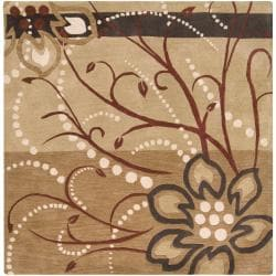 Hand-tufted Beige Belgian Floral Wool Rug (8' Square)