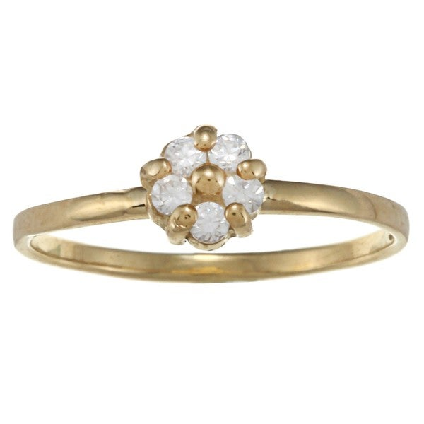 Gioelli 14k Gold over Silver Cubic Zirconia Flower Baby Ring
