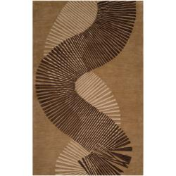 Hand-tufted Contemporary Brown Striped Akita New Zealand Wool Abstract Area Rug - 5' x 8' - Thumbnail 0