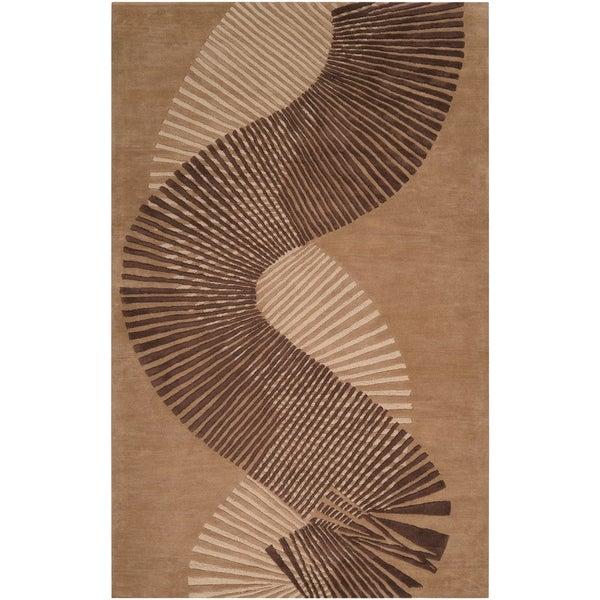 Hand-tufted Contemporary Brown Striped Akita New Zealand Wool Abstract Area Rug - 5' x 8'
