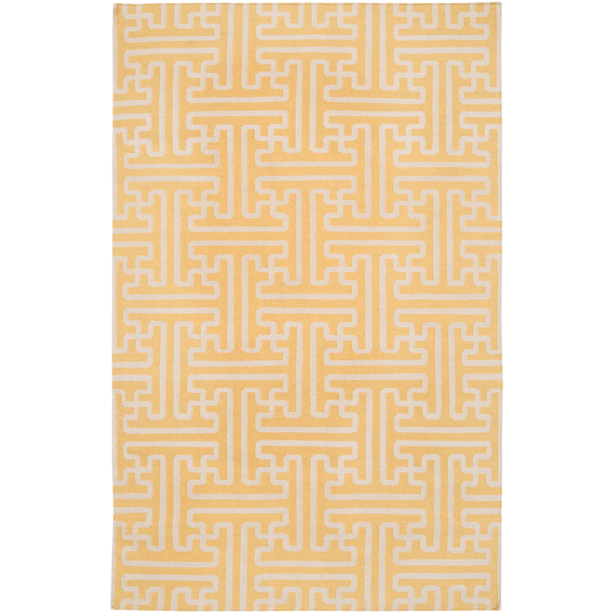 Hand-woven Yellow Antima Wool Rug (3'6 x 5'6)