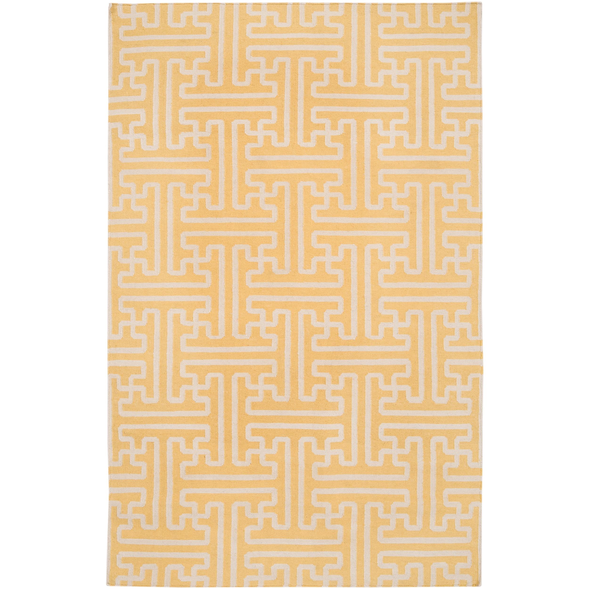 Hand-woven Yellow Antima Wool Area Rug - 5' x 8'