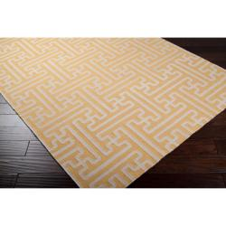 Hand-woven Yellow Antima Wool Rug (5' x 8') - Thumbnail 1