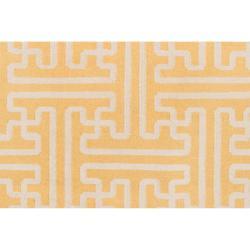 Hand-woven Yellow Antima Wool Rug (5' x 8') - Thumbnail 2