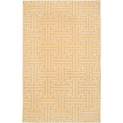 Hand-woven Yellow Antima Wool Rug (5' x 8')