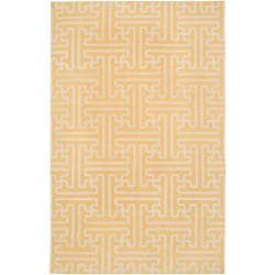 Hand-woven Yellow Antima Wool Rug (8' x 11')