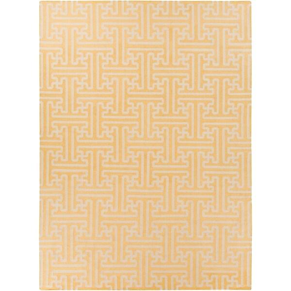 Hand-woven Yellow Antima Wool Area Rug - 8' x 11'