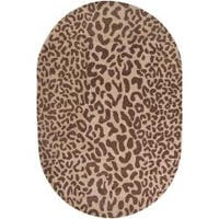 Hand-tufted Brown Leopard Basenji Animal Print Wool Area Rug (6' x 9' Oval)