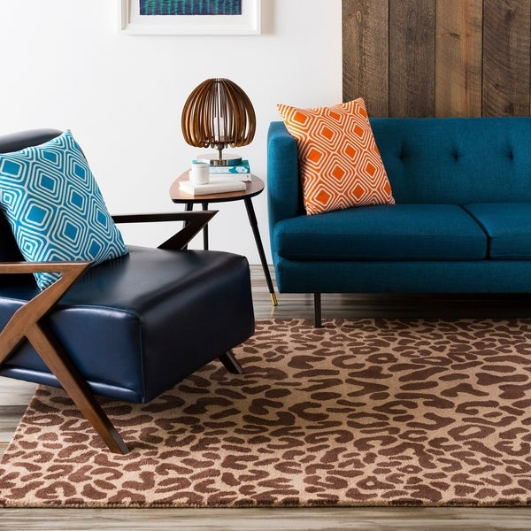 Hand-tufted Brown Leopard Basenji Animal Print Wool Area Rug - 6' x 9' Oval/Surplus
