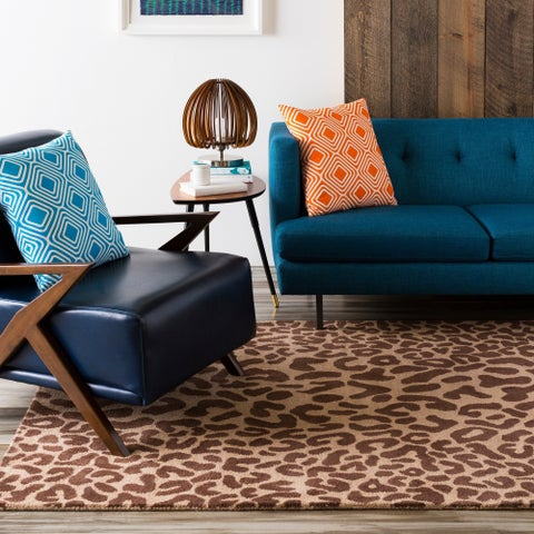 Hand-tufted Brown Leopard Basenji Animal Print Wool Area Rug - 6' x 9' Oval/Surplus