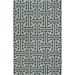 Hand-woven Turquoise Appela Wool Rug (5' x 8')