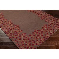 Hand-tufted Brown Beauceron Wool Area Rug - 4'
