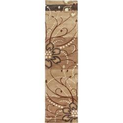 Hand-tufted Beige Belgian Floral Wool Rug (2'6 x 8')