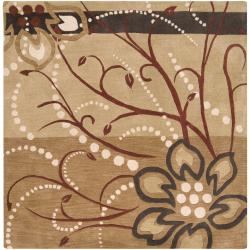 Hand-tufted Tan Belgian Floral Wool Rug (4' Square)