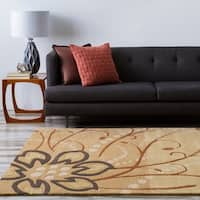 Hand-tufted Tan Belgian Floral Wool Area Rug - 8' x 8'