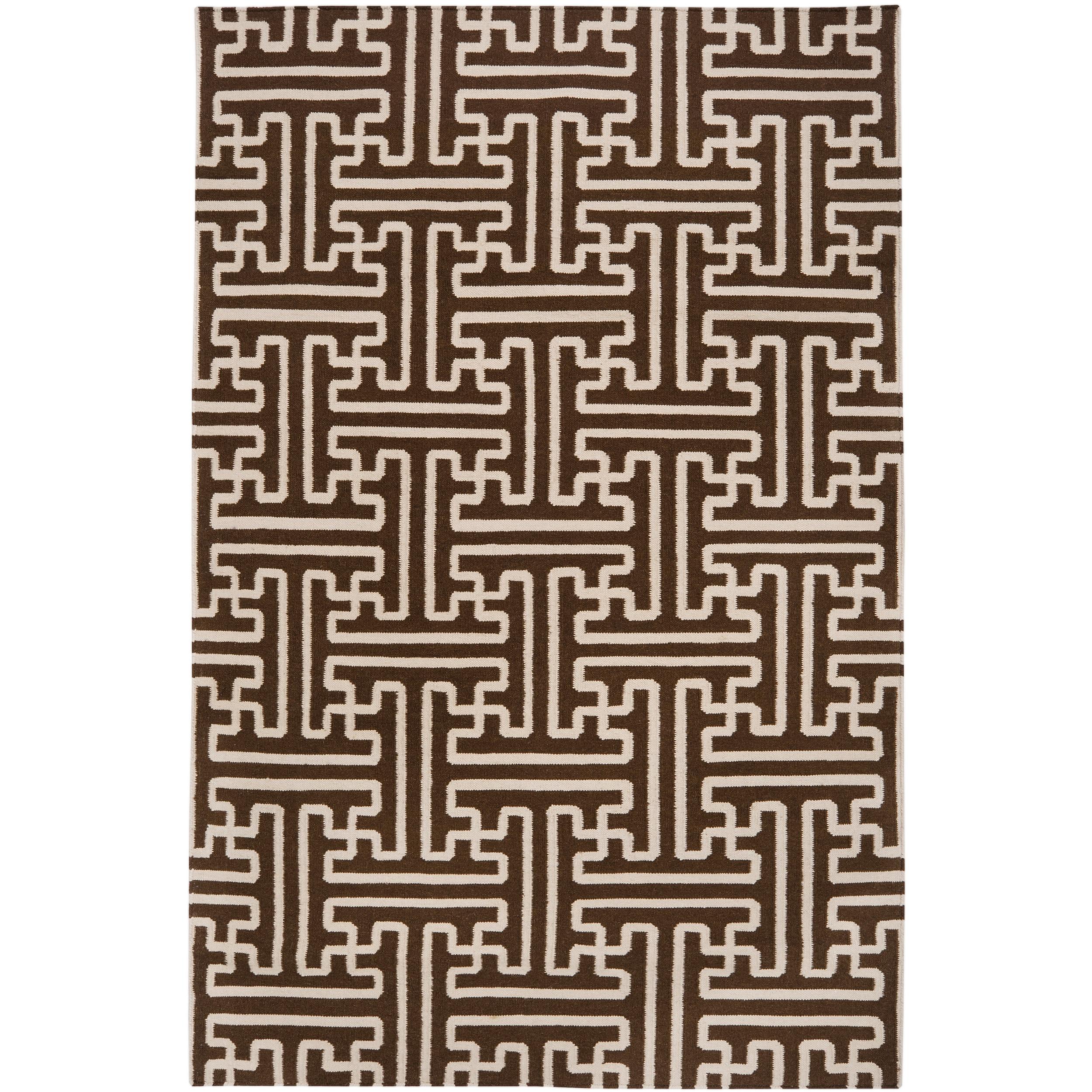 Hand-woven Brown Acadia Wool Rug (5' x 8')