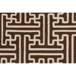 Hand-woven Brown Acadia Wool Rug (5' x 8') - Thumbnail 2