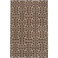 Hand-woven Brown Acadia Wool Area Rug - 5' x 8'