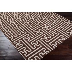 Hand-woven Brown Acadia Wool Rug (8' x 11') - Thumbnail 1