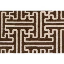 Hand-woven Brown Acadia Wool Rug (8' x 11') - Thumbnail 2