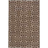 Hand-woven Brown Acadia Wool Area Rug (8' x 11')