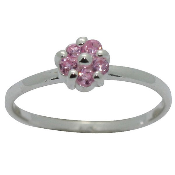 Gioelli Sterling Silver Pink Cubic Zirconia Flower Baby Ring