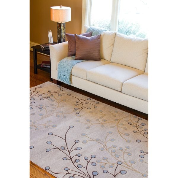 Hand-tufted Ivory Bernese Floral Wool Area Rug (9' x 12')
