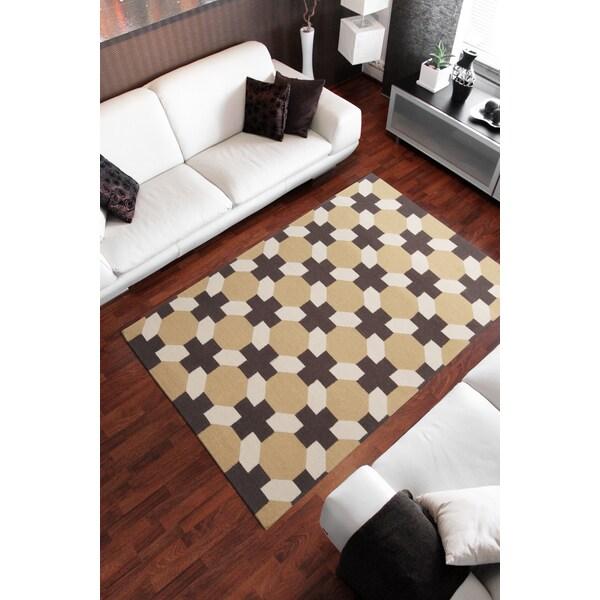 Hand-woven Tan Arctos Wool Area Rug (8' x 11')