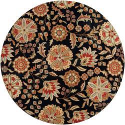 Hand-tufted Black Bichon Wool Rug (4' Round)