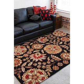 Hand-tufted Black Bichon Wool Rug (6' x 9')