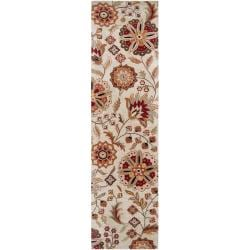 Hand-tufted Beige Borzoi Floral Wool Rug (2'6 x 8')