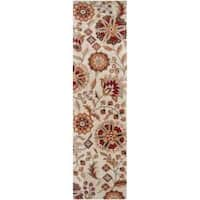 Hand-tufted Beige Borzoi Floral Wool Area Rug - 2'6 x 8'