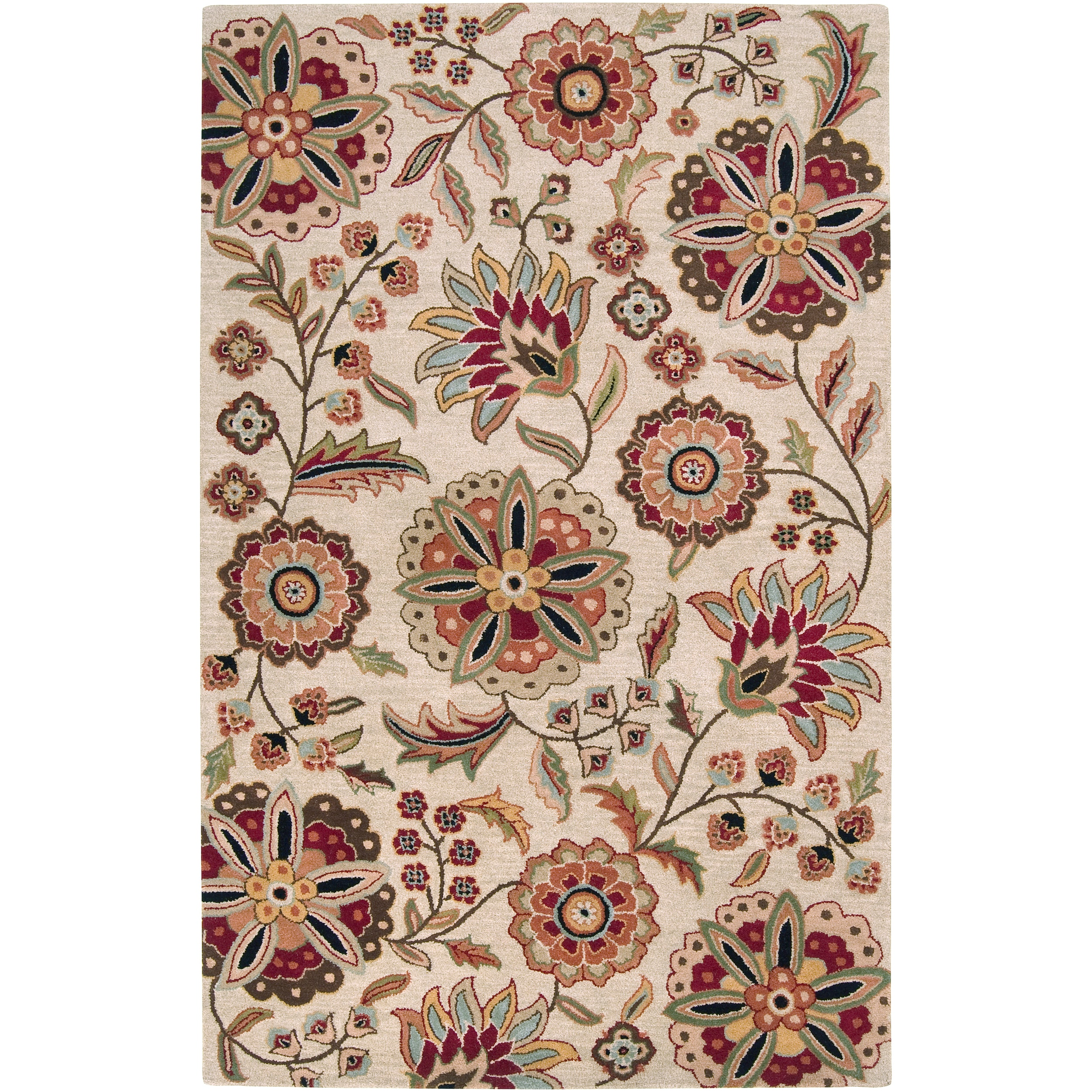 Hand-tufted Beige Borzoi Floral Wool Rug (4' x 6')